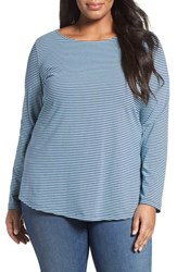 Sejour Plus Size Women's Stripe Ballet Neck Long Sleeve Tee Blue Stripe