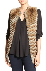 La Fiorentina Women's Genuine Rex Rabbit Fur Vest Brown Brown