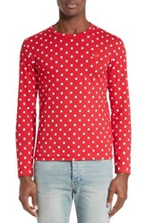 Comme Des Garcons Men's Play Dot Print Long Sleeve Crewneck T Shirt Red