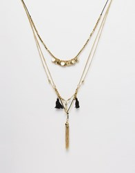 Warehouse Multi Row Coin Necklace Gold