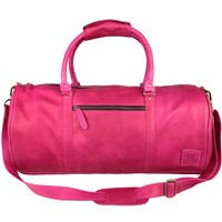 Mahi Leather Weekend Classic Duffle Holdall Overnight Gym Bag In Hollywood Pink Pink Purple