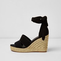 River Island Womens Black Ankle Tie Espadrille Wedges