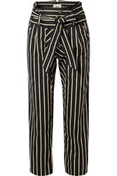 Figue Portia Cropped Striped Cotton Voile Straight Leg Pants Black