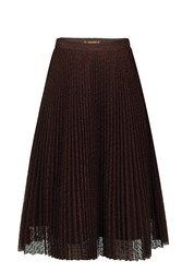 Jolie Moi Lace Pleated A Line Skirt Brown