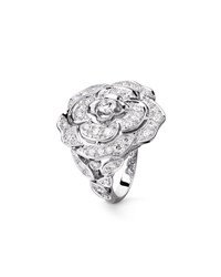 Chanel Bouton De Camelia Large Ring In 18K White Gold And Diamonds