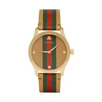 Gucci Tan And Gold Striped Leather G Timeless Watch