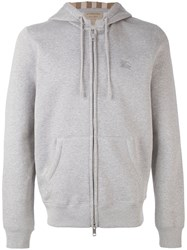 Burberry Zipped Hoodie Men Cotton Polyester Xl Grey