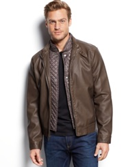 Kenneth Cole Quilted Bib Faux Leather Moto Jacket Otter