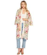 Steve Madden Delicate Floral Printed Kimono Duster Cream Clothing Beige