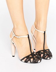 Little Mistress Embellished Caged Heel With Ankle Strap Black