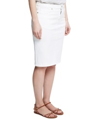 Violeta By Mango Plus Size Denim Pencil Skirt White Wash