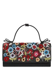Red Valentino Floral Embellished Grained Leather Bag
