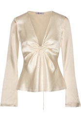 Alexander Wang T By Knotted Hammered Silk Satin Blouse Cream