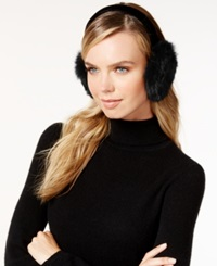 Surell Velvet Band Rabbit Fur Earmuffs Black