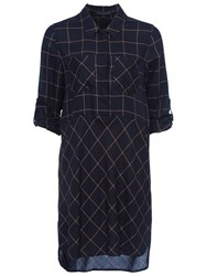 French Connection Fast Darla Dress Utility Blue Indian Tan