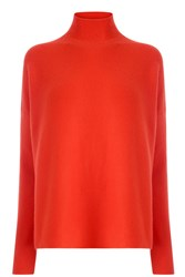 Warehouse Ribbed Boxy Turtleneck Jumper Red