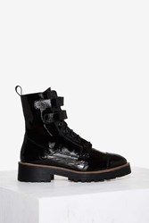 Shellys London Tyra Patent Leather Combat Boot Black