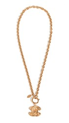 Wgaca What Goes Around Comes Around Chanel Gold Quilted Cc Necklace Small