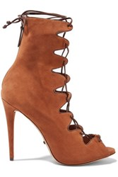 Schutz Leather Trimmed Suede Lace Up Sandals Tan
