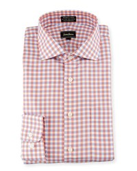 Neiman Marcus Classic Fit Non Iron Check Dress Shirt Coral