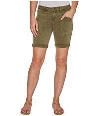 Liverpool Kylie Cargo Shorts With Flat Patch Pockets On Pigment Dyed Slub Stretch Twill In Olive Night Olive Night Women's Shorts Green