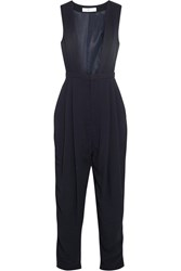 Toga Satin Trimmed Crepe Jumpsuit Blue