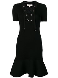 Michael Michael Kors Lace Up Ribbed Knit Dress Black