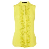 Karen Millen Ruffle Front Sleeveless Blouse Yellow