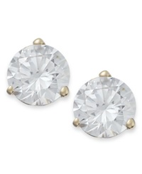Arabella 14K Gold Earrings Swarovski Zirconia Stud Earrings 7Mm Clear