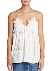 Chloe Embroidered Linen Camisole Tank Milk