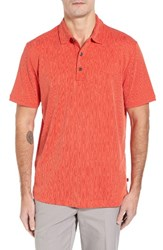 Tommy Bahama Men's Bark Pattern Spectator Polo Blazing Orange