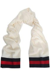 Madeleine Thompson Checked Intarsia Knit Wool And Cashmere Blend Scarf Ivory