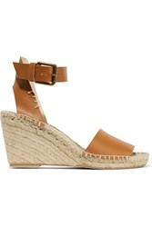 Soludos Leather Espadrille Wedge Sandals Tan
