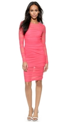 Versace Long Sleeve Mesh Dress Pink