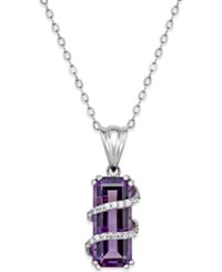 Macy's Amethyst 6 Ct. T.W. And Cubic Zirconia Pendant Necklace In Sterling Silver