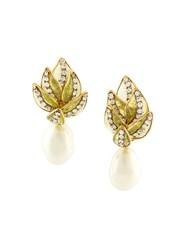 Chanel Vintage Clip On Leaf Drop Earrings White