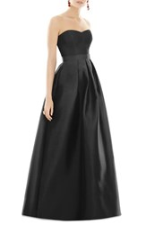 Alfred Sung Strapless Sateen Gown Black