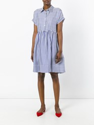 P.A.R.O.S.H. Striped Flared Shirt Dress Women Silk M White