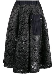 Each X Other Hybrid Lace And Pinstripe Military Skirt Black