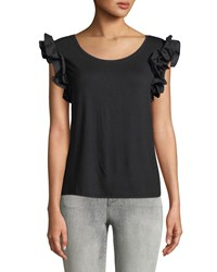 London Times Scoop Neck Ruffle Sleeve Tee Black