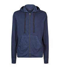 James Perse Vintage Cotton Hoodie Male Blue