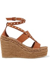 Jimmy Choo Denise 110 Studded Leather Espadrille Wedge Sandals Light Brown Gbp
