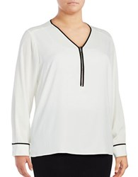 Calvin Klein Plus Contrast Zipper Blouse Cream