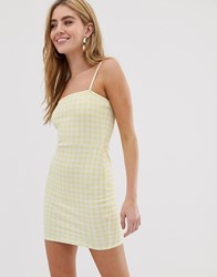 Daisy Street Square Neck Cami Dress In Gingham Yellow