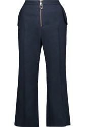 Tanya Taylor Rene Cropped Stretch Twill Bootcut Pants Midnight Blue