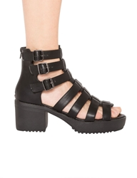 Pixie Market Black Gladiator Buckled Platform Sandals