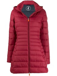 Save The Duck Padded Hooded Coat Red