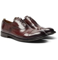 Officine Creative Anatomia Cap Toe Polished Leather Derby Shoes Burgundy