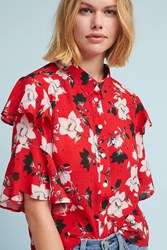 Lily And Lionel Magnolia Ruffled Buttondown Red Motif