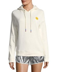 Tory Sport French Terry Cotton Hoodie Ivory